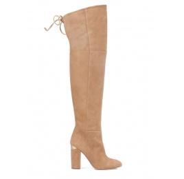 Over-the-knee high block heel boots in camel suede Pura López