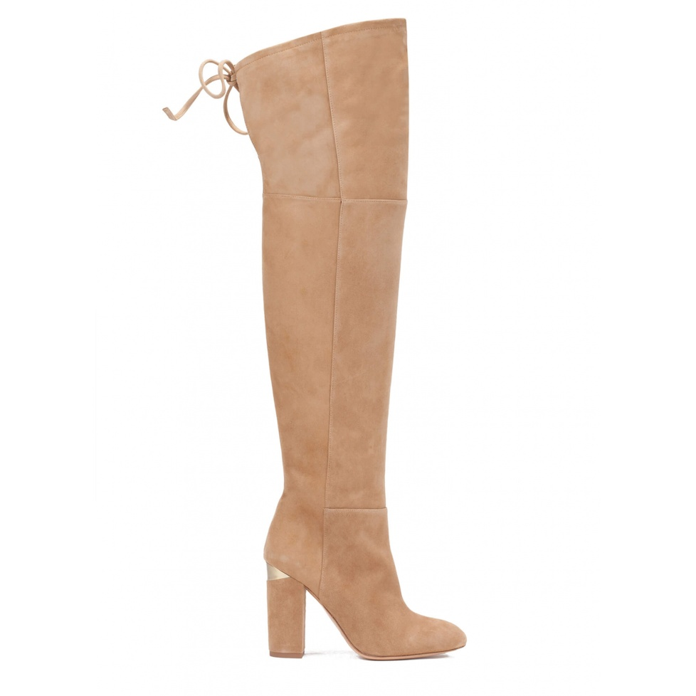 Over-the-knee high block heel boots in camel suede