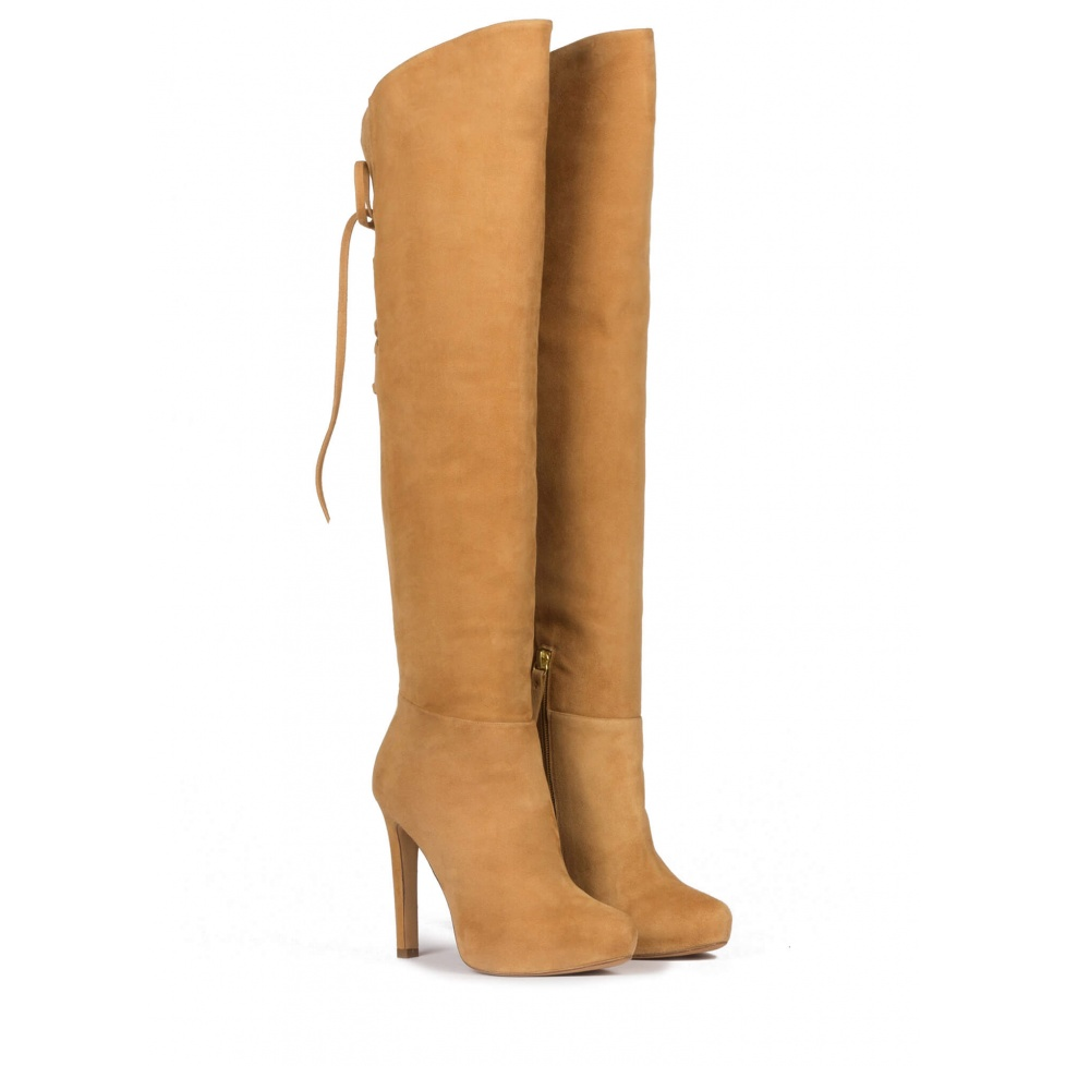 Over-the-knee boots in camel suede with concealed platform
