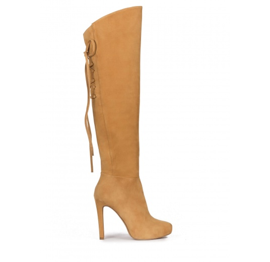 Over-the-knee boots in camel suede with concealed platform Pura L�pez