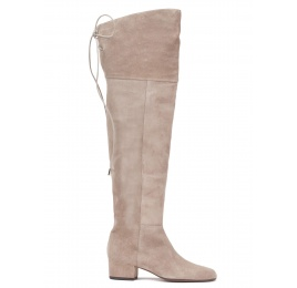 Over-the-knee low heel boots in taupe suede Pura López