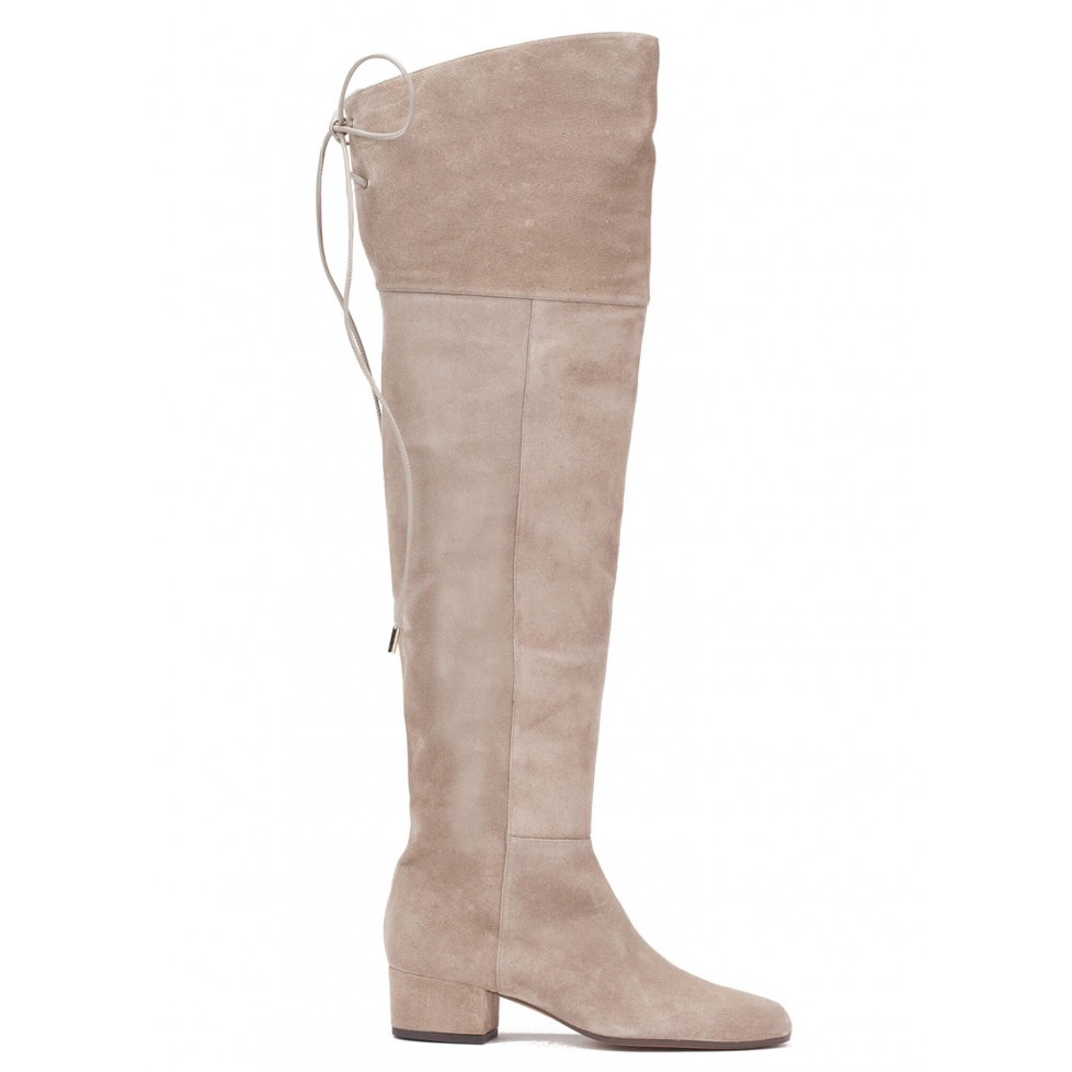 Over-the-knee low heel boots in taupe suede