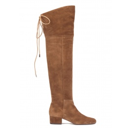 Over-the-knee low heel boots in brown suede Pura López