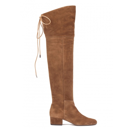 Over-the-knee low heel boots in brown suede Pura L�pez