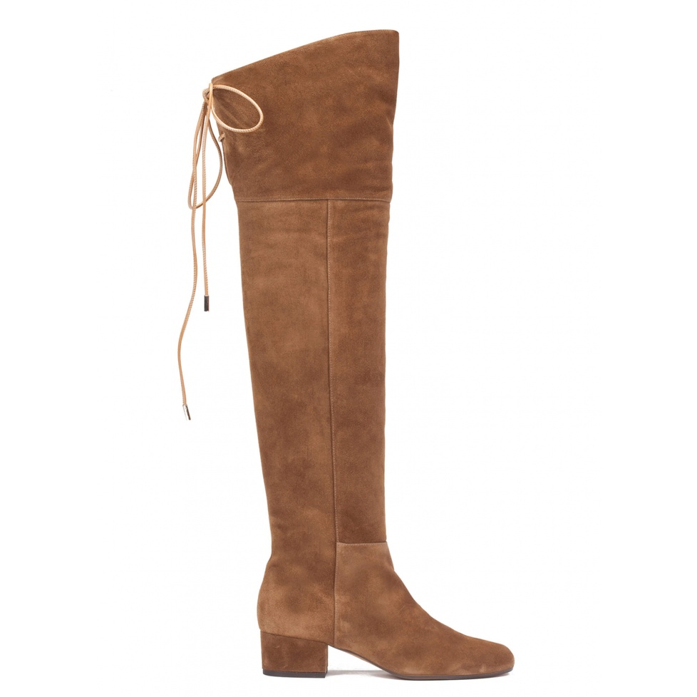 Over-the-knee low heel boots in brown suede