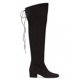 Over-the-knee low heel boots in black suede Pura López