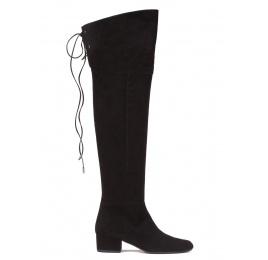 Over-the-knee low heel boots in black suede Pura López