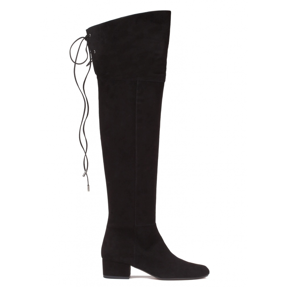 Over-the-knee low heel boots in black suede