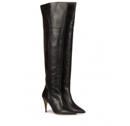Over-the-knee high heel boots in black leather Pura López