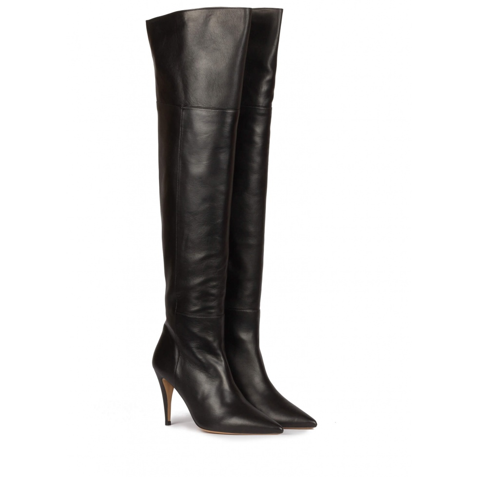 Over-the-knee high heel boots in black leather