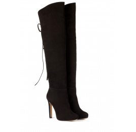 Over the knee boots in black suede Pura López