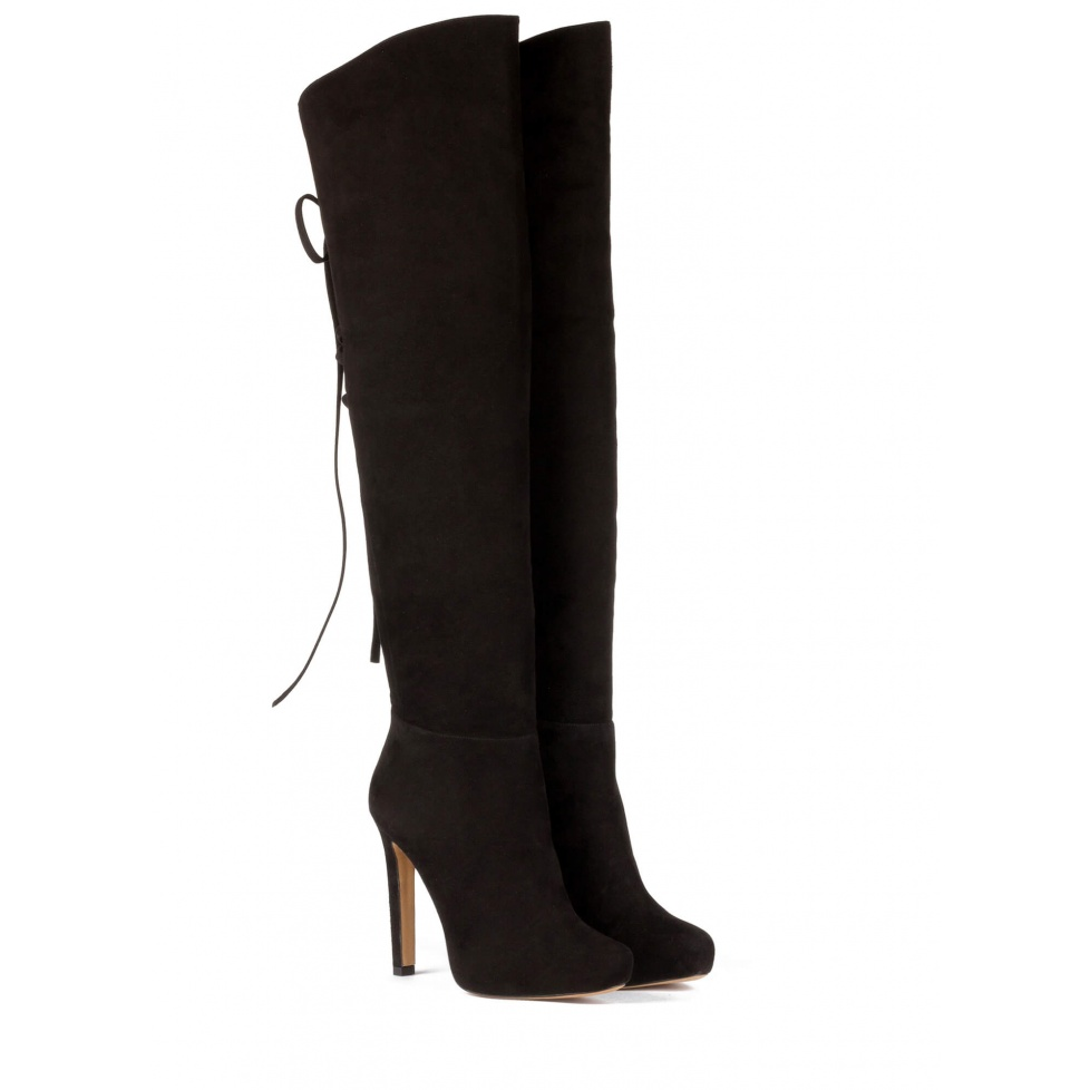 Over-the-knee high heel boots in black suede