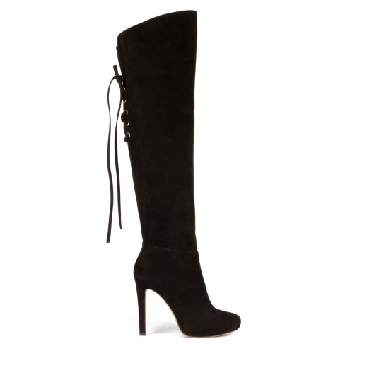 Over the knee boots in black suede Pura L�pez