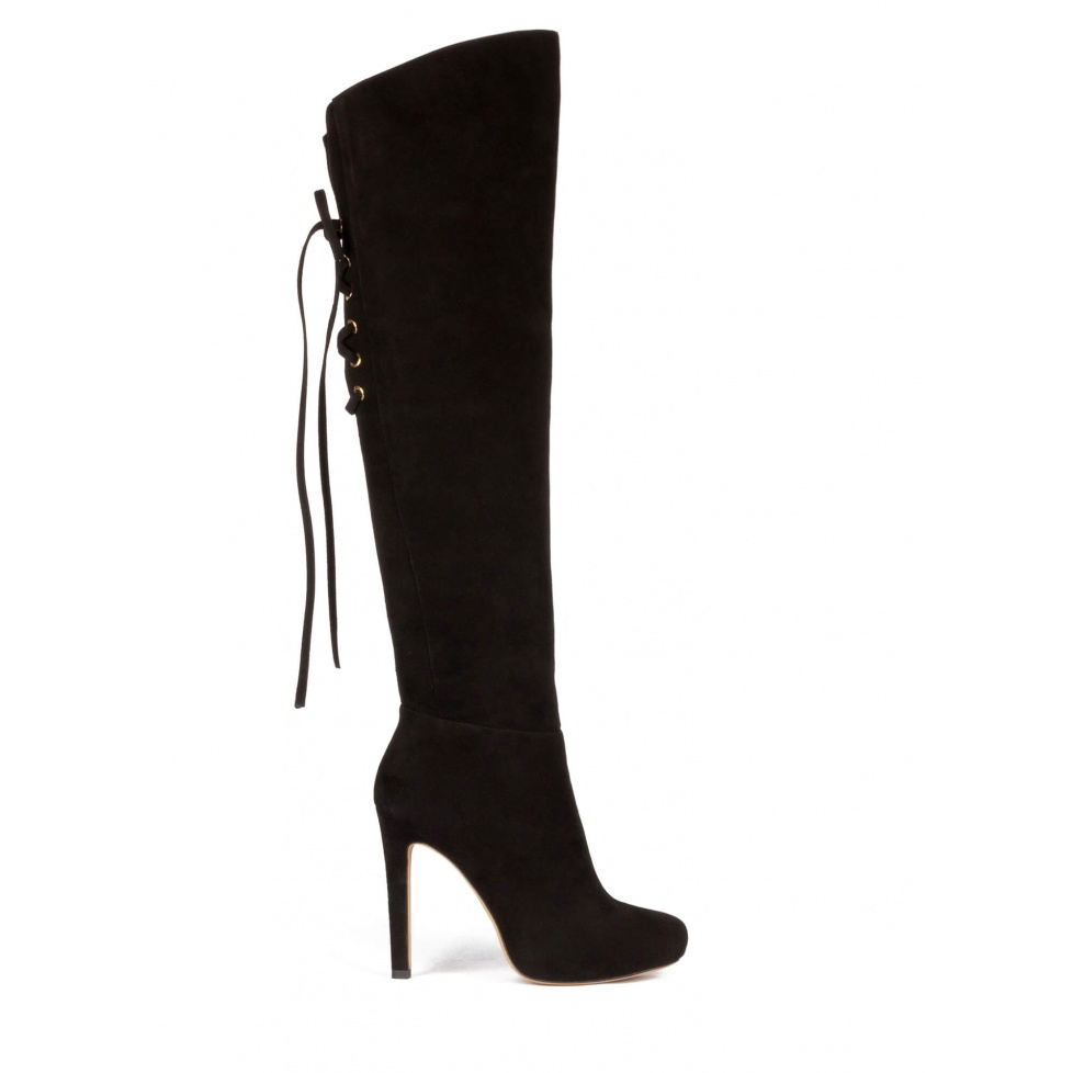 Over the knee boots in black suede