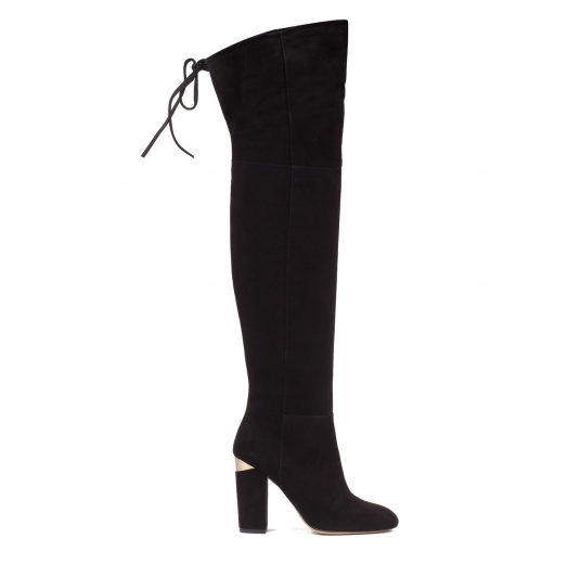 Over-the-knee high block heel boots in black suede Pura López
