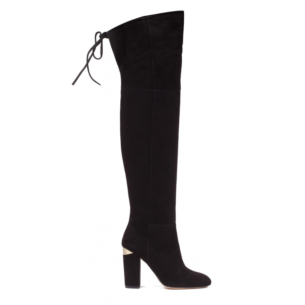 Over-the-knee high block heel boots in black suede