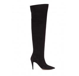 Over-the-knee high heel boots in black suede Pura López