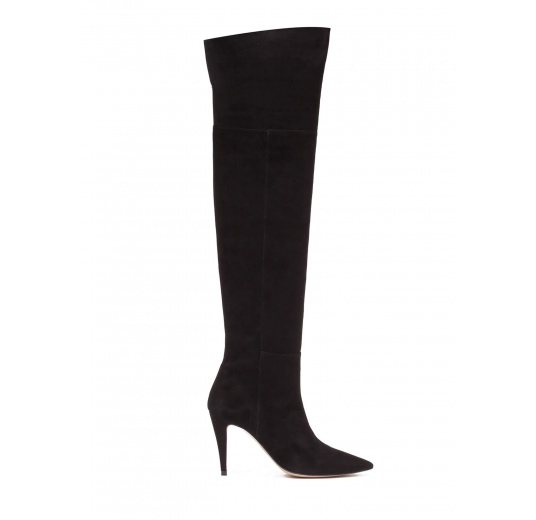 Over-the-knee high heel boots in black suede Pura López
