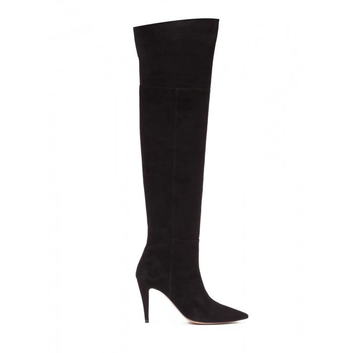 Over-the-knee high heel boots in black suede