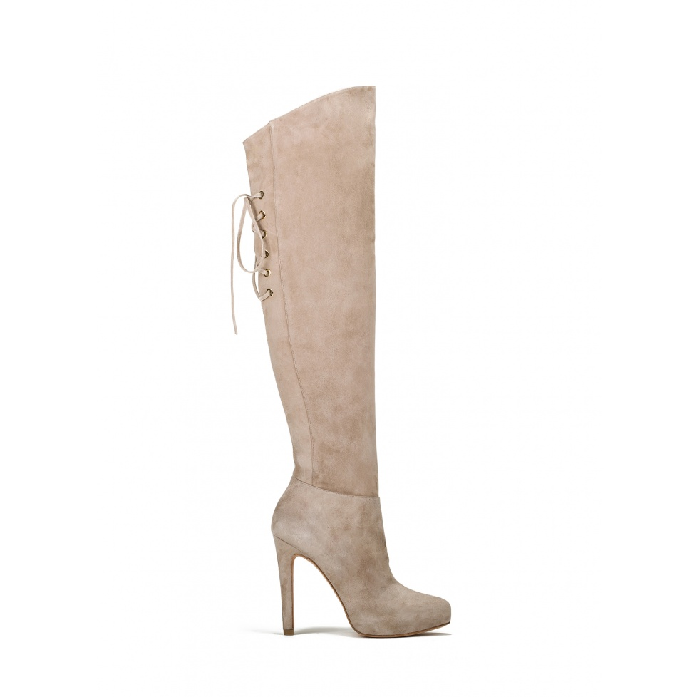 Over the knee boots in sand suede