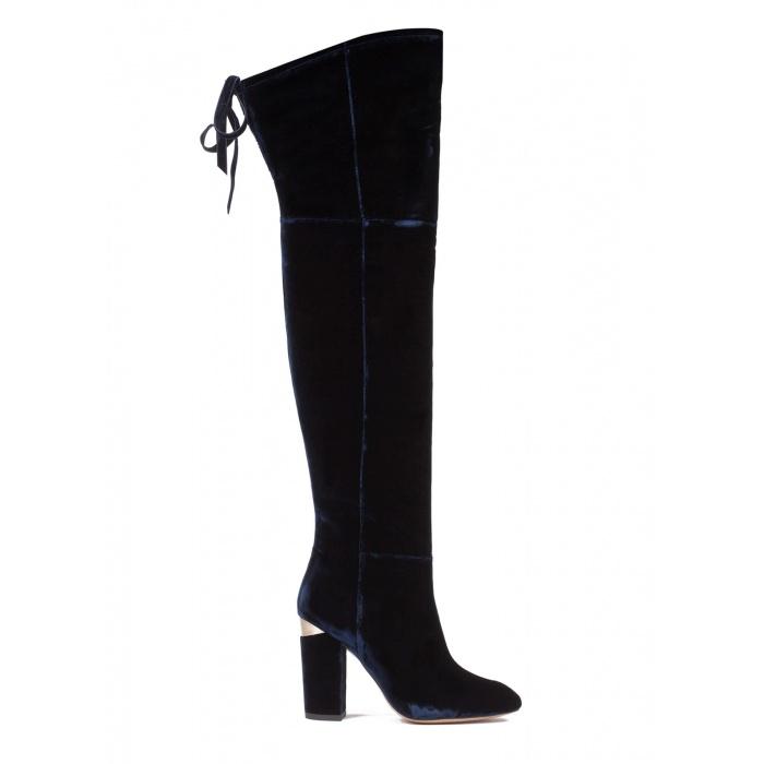 Over-the-knee high block heel boots in night blue velvet