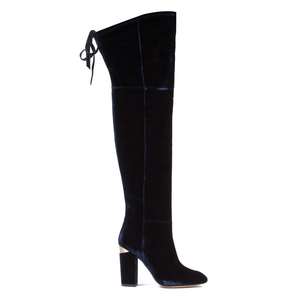 Over-the-knee high block heel boots in night blue velvet