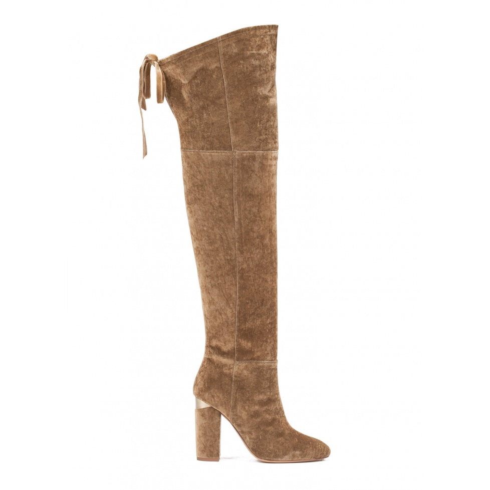 Over-the-knee high block heel boots in golden velvet