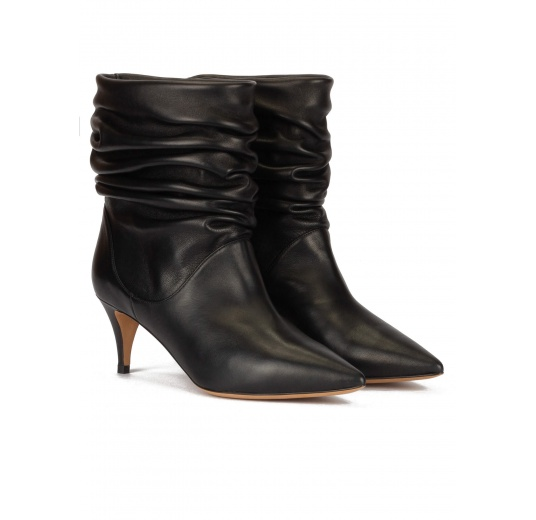 Slouchy mid-heeled ankle boots in black nappa leather Pura L�pez