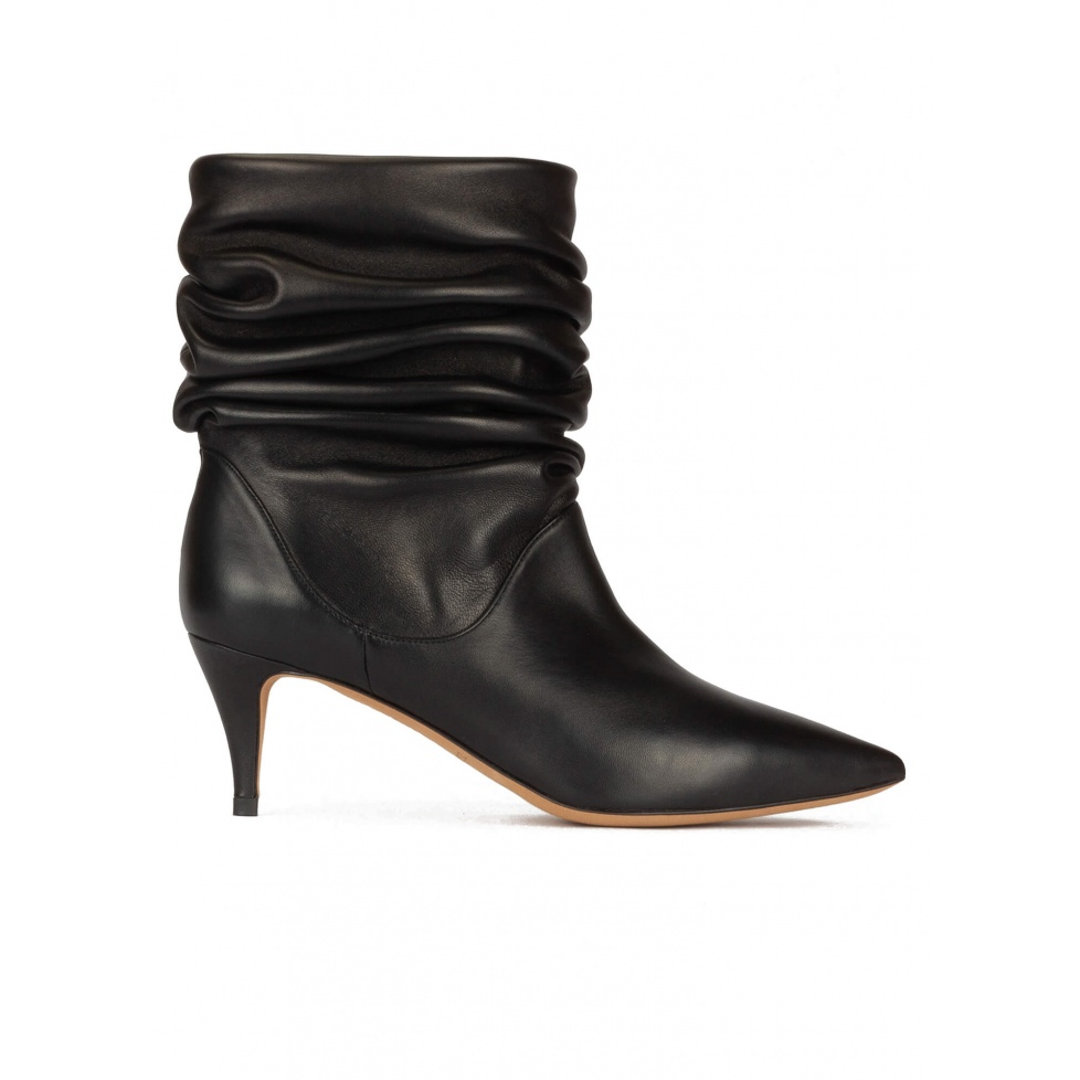 Slouchy mid-heeled ankle boots in black nappa leather