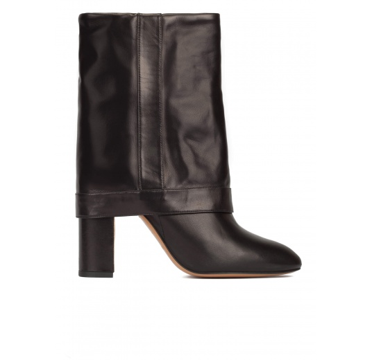 Black leather folded high block heel boots Pura L�pez