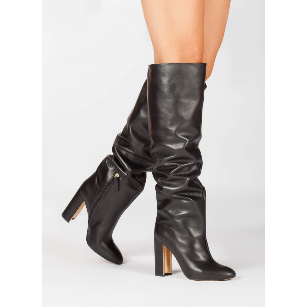 Black leather wide high heel slouchy boots