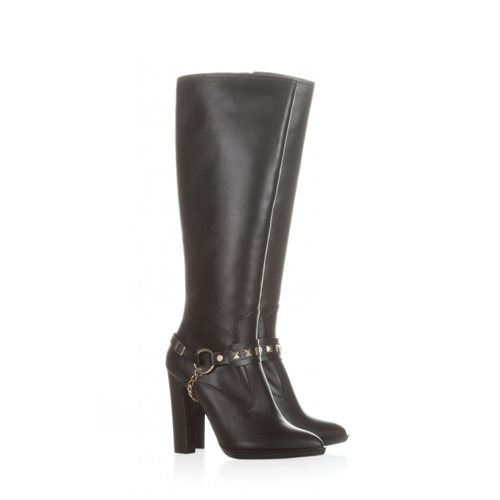 Pura Lopez high heel boots in black leather