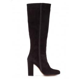 High block heel boots in black suede Pura López
