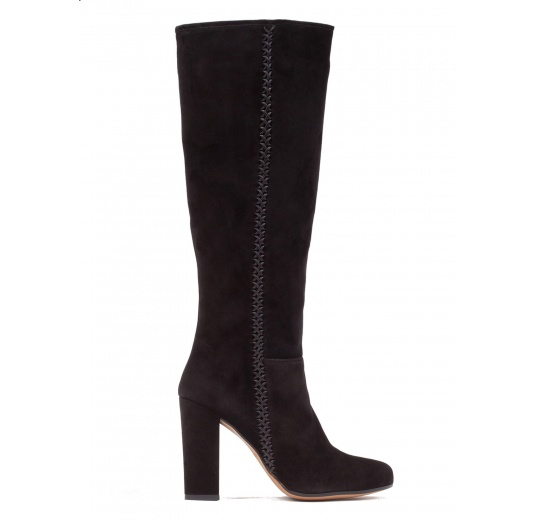 High block heel boots in black suede Pura L�pez