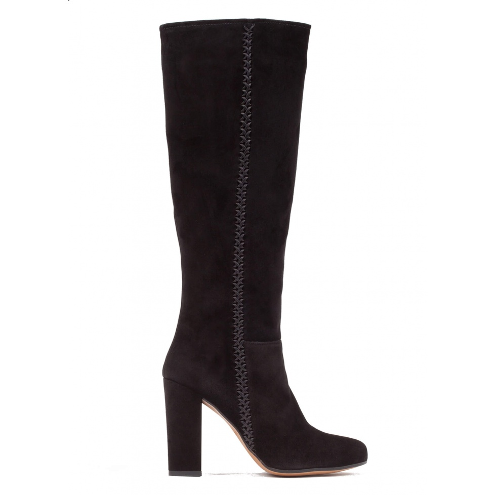 High block heel boots in black suede
