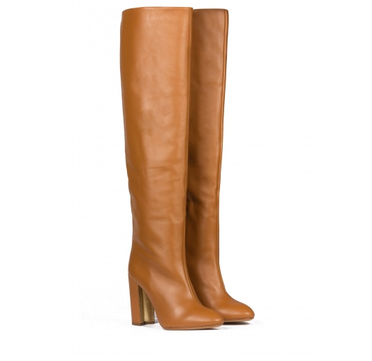 Slouchy knee-high block heel boots in camel leather Pura L�pez