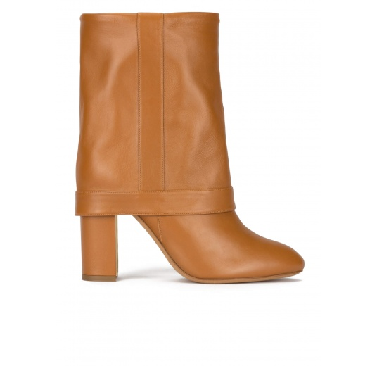 Folded high block heel boots in camel leather Pura L�pez