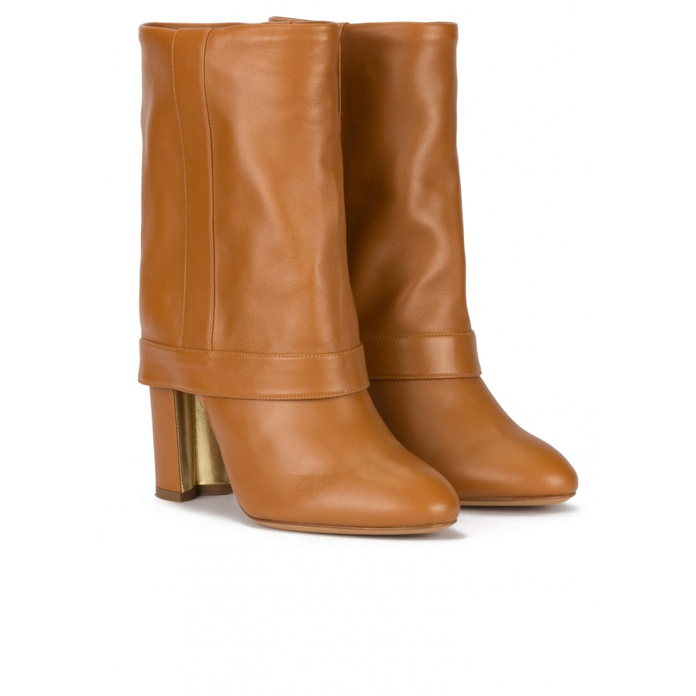 Folded high block heel boots in camel leather