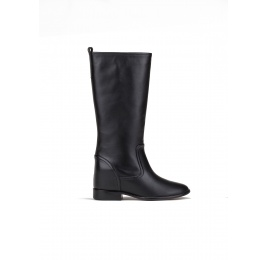 Concealed wedge boots in black leather Pura López