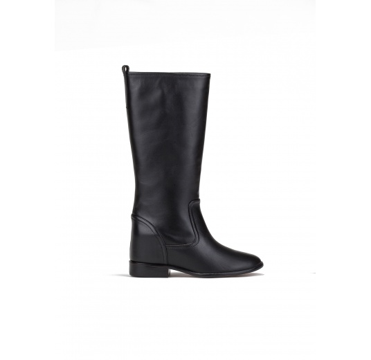 Concealed wedge boots in black leather Pura L�pez