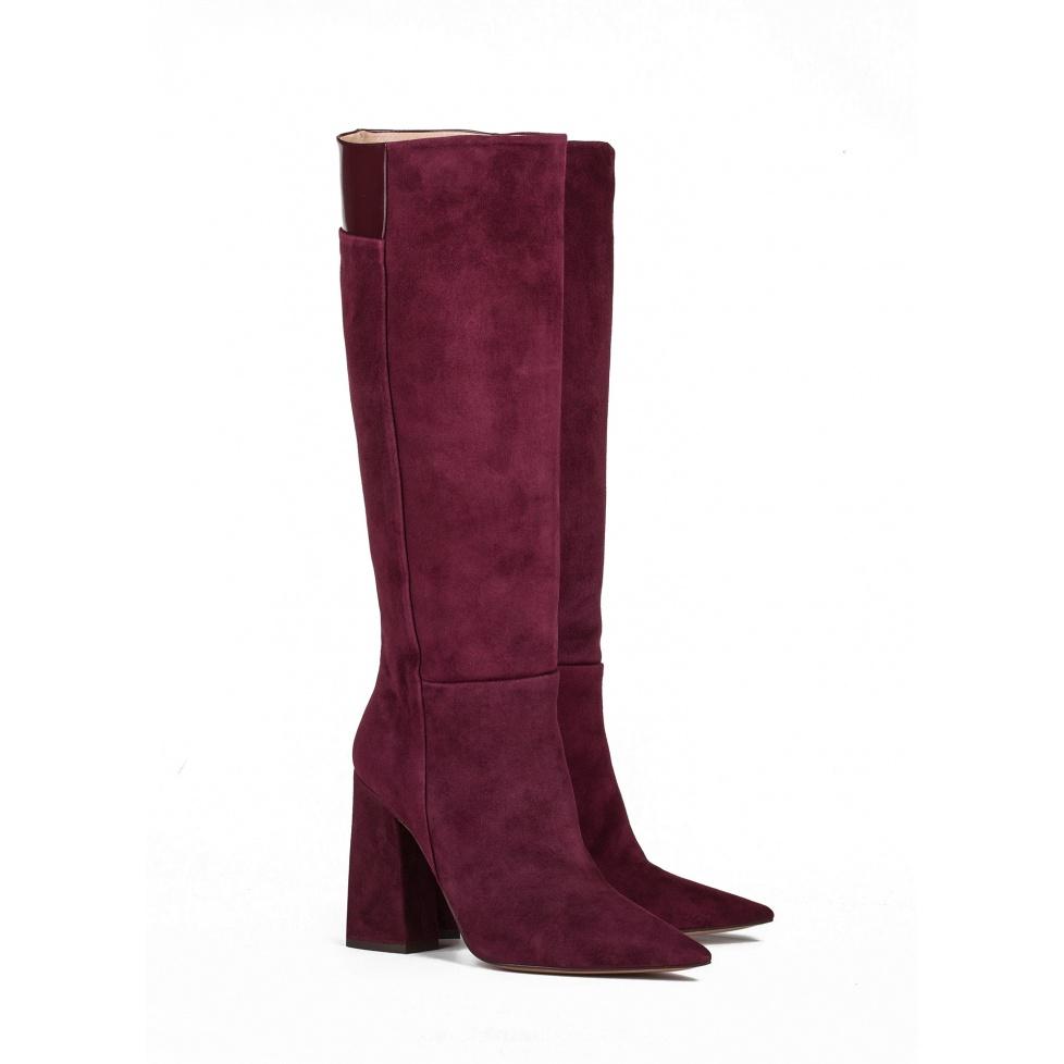 High heel boots in burgundy suede - online shoe store Pura Lopez