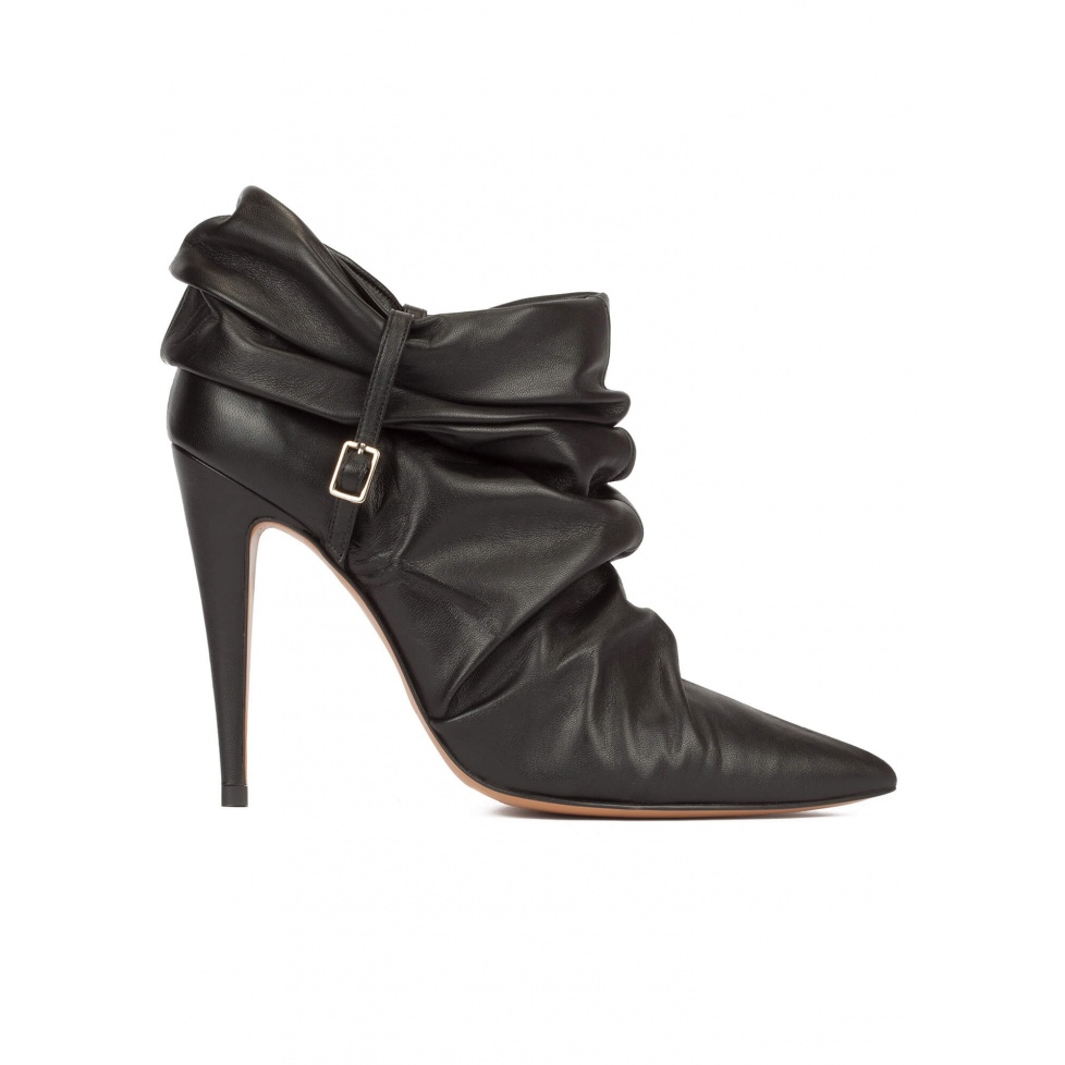 Slouch high heel pointy toe ankle boots in black leather