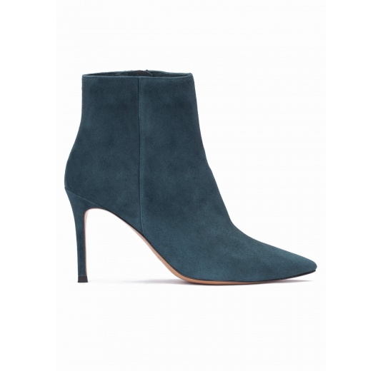Petrol blue suede heeled pointy toe ankle boots Pura L�pez