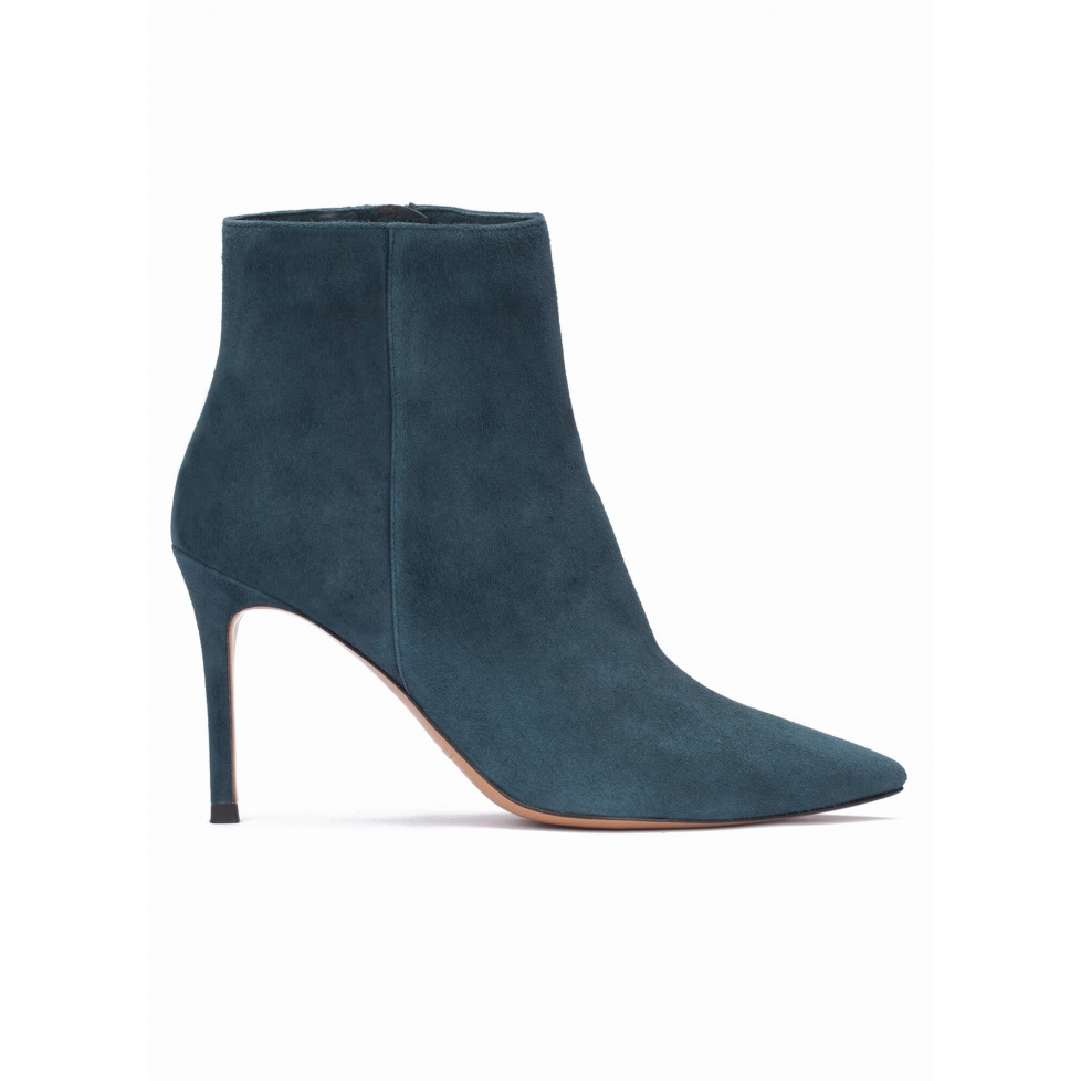 Petrol blue suede heeled pointy toe ankle boots