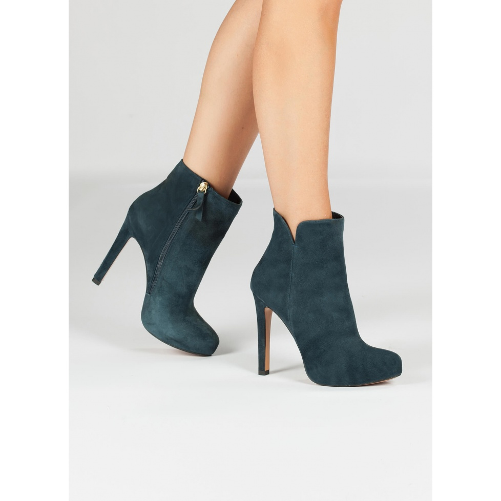 High heel ankle boots in blue suede - online shoe store Pura Lopez