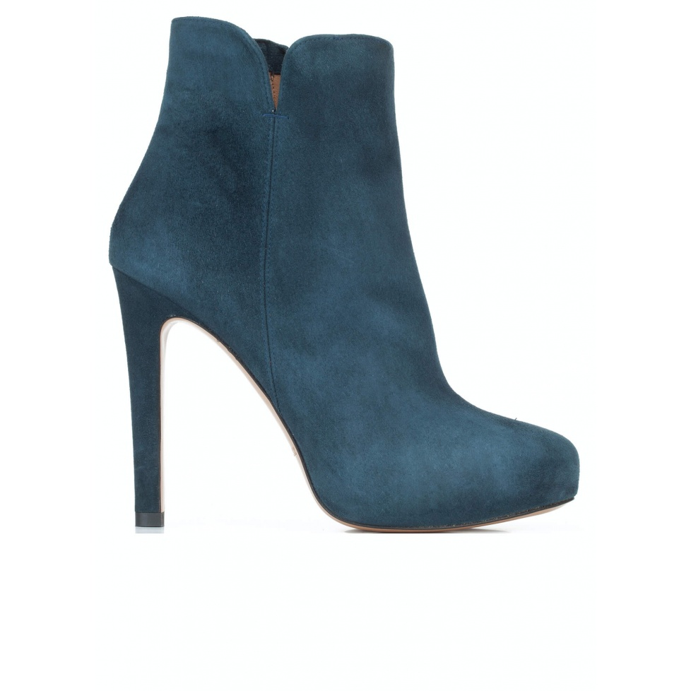 Petrol blue suede heeled ankle boots