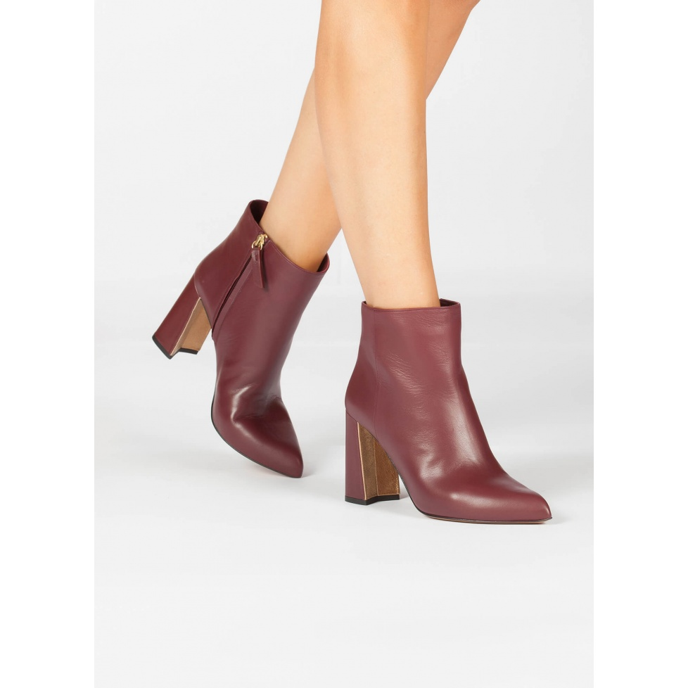 High block heel ankle boots in burgundy leather