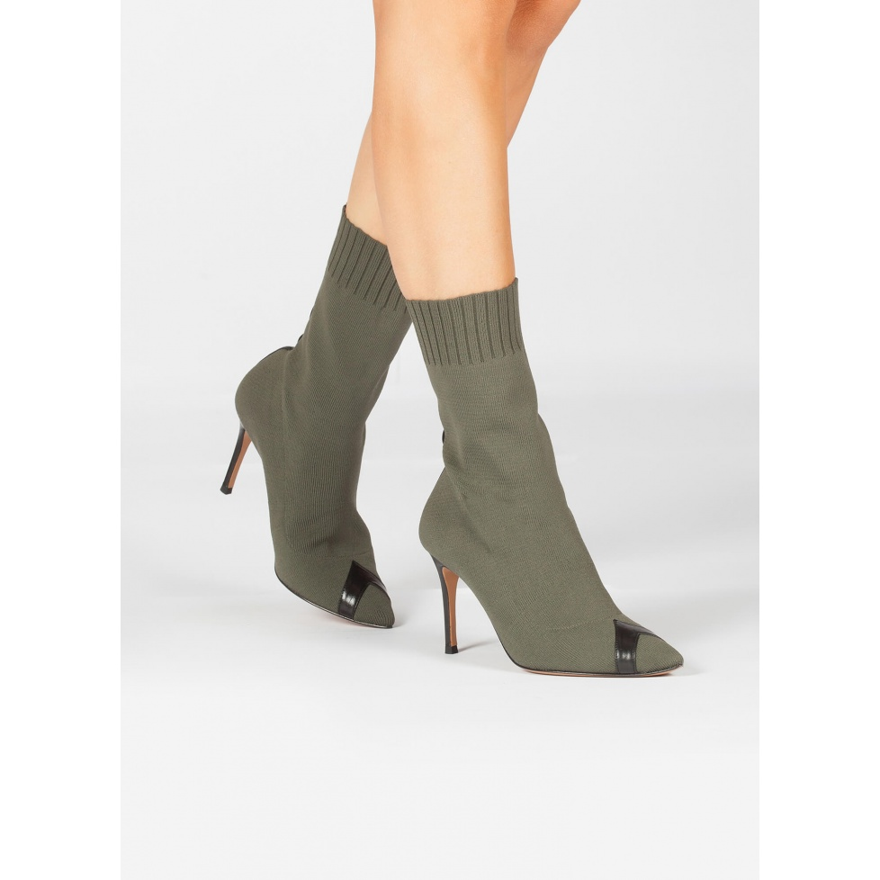 Khaki green sock high heel point-toe ankle boots