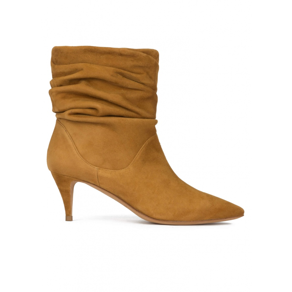 Slouchy mid heel ankle boots in chestnut suede