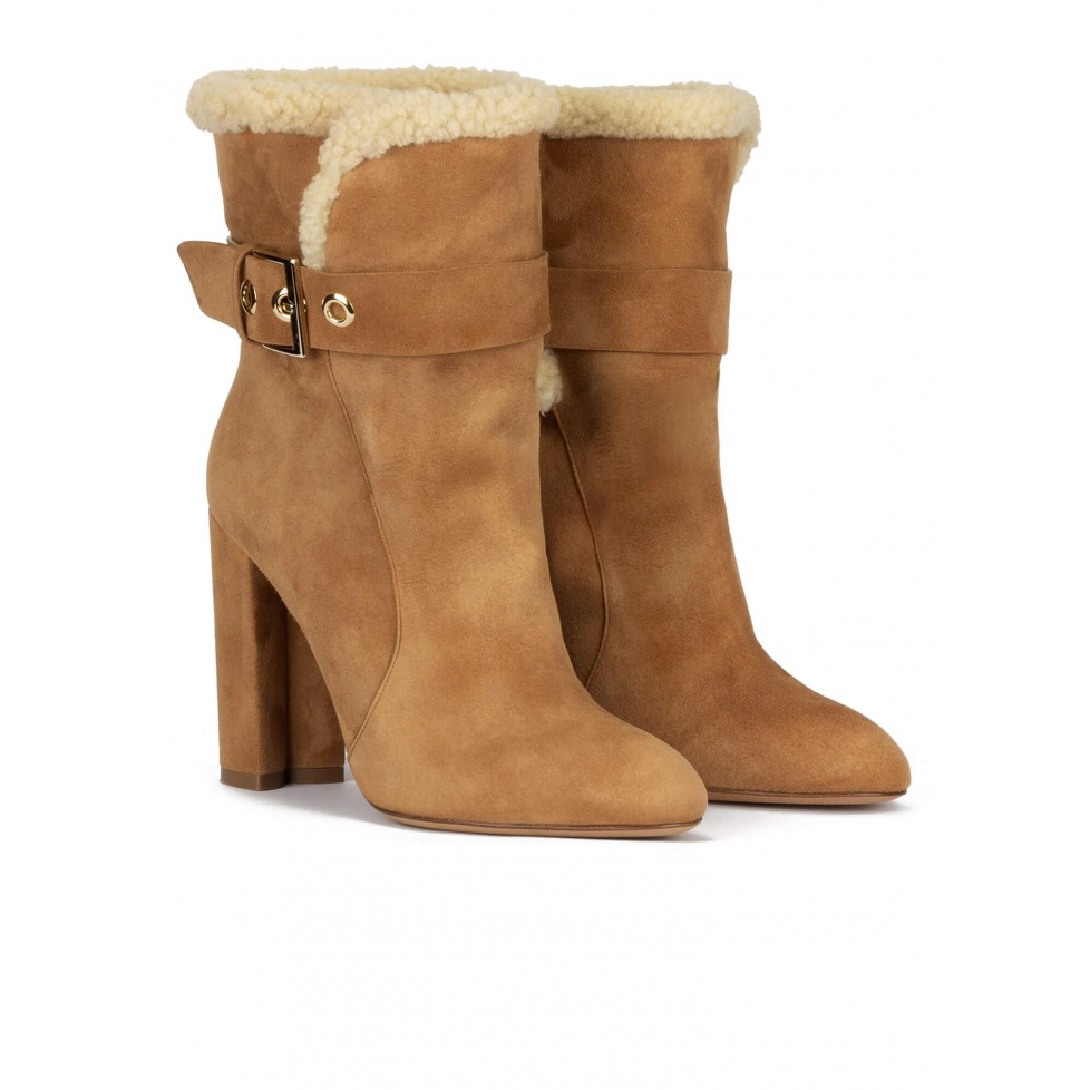 High block heel ankle boots in camel suede